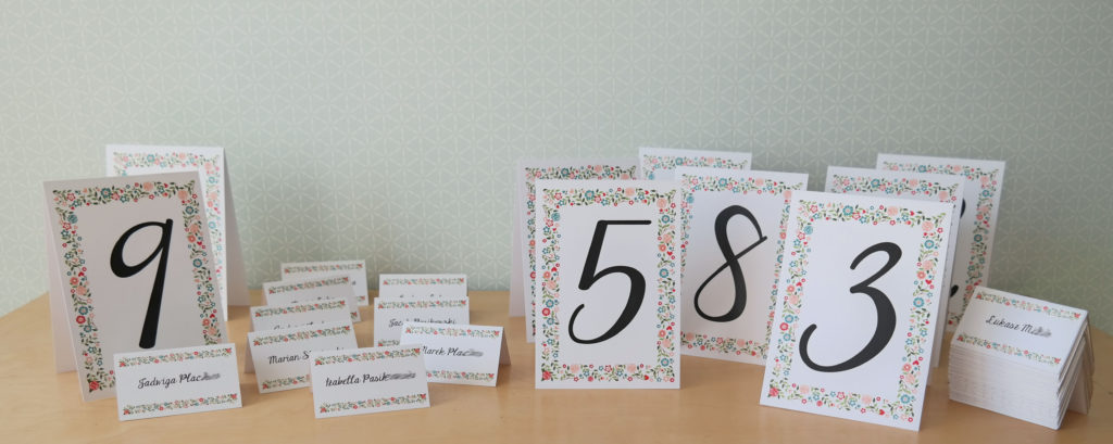 numery stołów i winietki