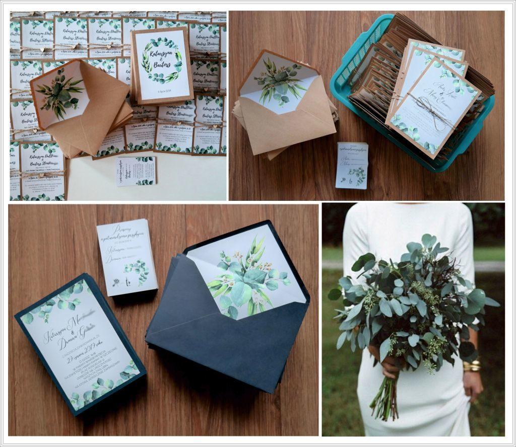 zaproszenia ślubne z eukaliptusem